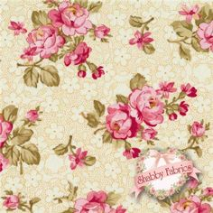 """Rosemont Gazebo 02281-07 Heirloom Ivory By E. Vive For Benartex: Rosemont Gazebo is a collection by E. Vive for Benartex. 100% cotton. 43/44"""" wide. This fabric features small pink rose bouquets on a cream floral background."""