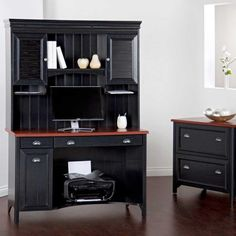 Gothic Wooden Computer Desk At Home With Cabinets Small Ideas And Drawer Vanity Under The Small Window Along With Dark Wooden Floor Attractive Computer Desk Ideas for Stylish Home Office Decor Interior Design http://seekayem.com