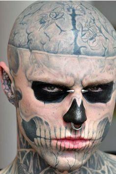 Cool idea of skull face tattoo - tattooimages. rick genest (zombie boy) inspiration for langdon horror story Rick Genest, Skull Face Tattoo, Body Art Tattoos, Skull Tattoos, Tatoos, Tattoo Drawings, Grunge Look, Trash Polka Tattoo, Arte Horror