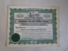 RARE Stock Certificate 1 Apalachicola Coca Cola Bottling Company
