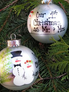 Our 1st Christmas as Mr. & Mrs..... Whimsical Hand Painted Ornament. $17.95, via Etsy.