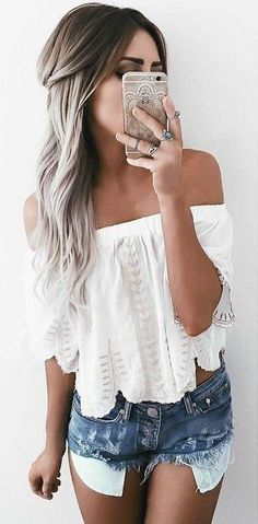 #summer #warm #weather #outfits | White Top + Denim Shorts