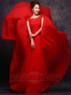 Cap Sleeves Red Long Prom Dress 150601tb08