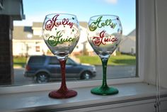 Hey, I found this really awesome Etsy listing at https://www.etsy.com/listing/164018576/christmas-wine-glasses
