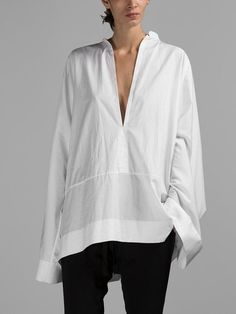 HAIDER ACKERMANN WOMEN'S WHITE BYRON SHIRT - HAIDER ACKERMANN BYRON SHIRT - WHITE COTTON - MANDARIN COLLAR - OVER SIZE - WIDE LONG SLEEVES - UNDERLINED CUFFS - NO CLOSURE - 100% COTTON - MADE IN POLA