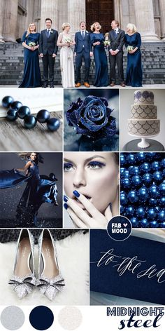 Midnight Blue Steel Wedding Inspiration, dark blue & grey wedding | fabmood.com