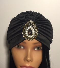 Items similar to Black Turban Glam Bohemian great gatsby gem turbanista turban  chic boho rhinestone gold jeweled hair accessory on Etsy 89d269a0b1bf