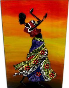 Mulatas Puntillismo - Decoración en Carabobo - MercadoLibre Venezuela Dot Art Painting, Mandala Painting, Fabric Painting, Mandala Canvas, Mandala Art, Afrique Art, African Art Paintings, Diy Friendship Bracelets Patterns, Art Africain