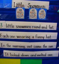 Snowmen pocket chart rhyme.