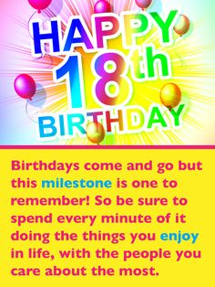 Send Free Festive Balloons – Happy Birthday Card to Loved Ones on Birthday & Greeting Cards by Davia. It's free, and you also can use your own customized birthday calendar and birthday reminders. Happy 18th Birthday Son, Birthday Wishes For Son, Birthday Girl Quotes, 18th Birthday Cards, Birthday Wishes Messages, Birthday Reminder, Birthday Greeting Cards, Birthday Greetings, Best Wishes For Success