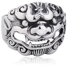 Moon Wings Vintage Men's Ring Male Lion Asian Style Stainless Steel... ($30) ❤ liked on Polyvore featuring men's fashion, men's jewelry, men's rings, mens rings, mens stainless steel rings, mens vintage rings and mens watches jewelry