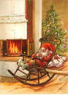 Bildresultat för Three gnomes on skis on porch of snow-covered cottage Christmas Scenes, Christmas Gnome, Christmas Pictures, Winter Christmas, Christmas Crafts, Illustration Noel, Christmas Illustration, Illustrations, Vintage Christmas Cards