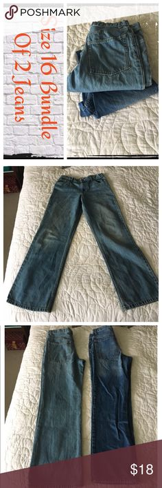 Boys size 16 bundle of 2 jeans Gently worn, normal wash wear. EUC.                                  ❇️ There could be some small stains/blemishes I missed, but I try to note everything.😘.                          ❇️ Reasonable Offers Only Please ❇️ Smoke and pet free ❇️ If this is a bundle, I WILL NOT break it up and sell    separately ❇️ I do not model anything; I will provide measurements if needed.  ❇️ Please do not hesitate to ask questions, 👍.         ❇️ NO HOLDS, NO TRADES, POSH…