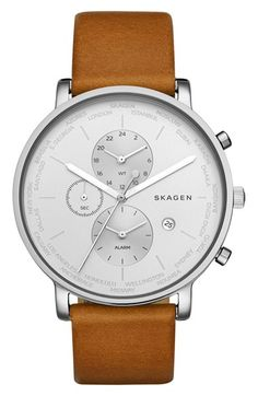 Free shipping and returns on Skagen 'Hagen' Chronograph Leather Strap Watch, 42mm at Nordstrom.com. Perfect for jet-setters and world travelers, this elegantly understated round watch features a cleanly styled chronograph dial that displays an alarm and world time. A smooth leather strap completes the everyday design.