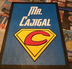 Vinyl and acrylic paint canvas with cardstock cut with the silhouette cameo. Made for my cousin's Superhero classroom theme!