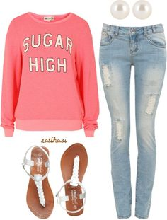 """Simple and Comfy Home Outfit"" by natihasi ❤ liked on Polyvore Needs the word AEROPOSTALE on it instead of SUGAR HIGH."