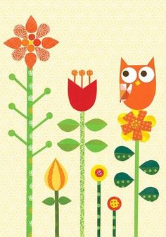 owl in a garden Lovely flowers with an owl by Junzo Terada