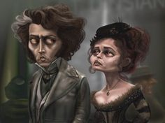 Drawing of Johnny Depp and Helena Bonham Carter as Sweeney Todd and Mrs. Lovett in Tim Burton's Sweeney Todd the Demon Barber of Fleet Street