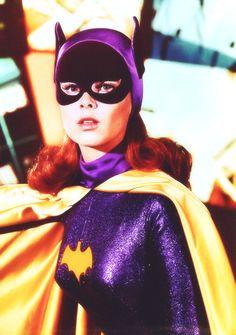 Batgirl costume reference, über-retro, redhead, Yvonne Craig style.