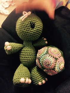 """This is a pattern for a small amigurumi turtle pattern. The shell can come off. The finished size when using the suggested hook and yarn is about 6"""". you can make it larger or smaller by changing the hook and yarn."""