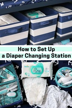 Make diaper duty as easy and enjoyable as possible by following these tips to set up a diaper changing station at home stocked with all the necessary diapering essentials. #ad #baby #HelloPampersPure #PampersPurePartner #llamabutt #newmom #momlife #diapers