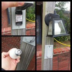 #Geocaching Light Bulb Cache... seen them before in Vegas, but I like how they went to the trouble of hanging a carriage light to put the bulb in, and the fake switch to throw people off. Well done!