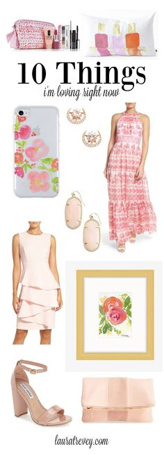 Flirty floral pastel prints intermingled with bold pops of pink. Get pretty in pink with these 10 things I'm loving right now for your wardrobe and home.