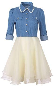 Blue Long Sleeve Denim Contrast Ruffle Chiffon Dress US$34.60