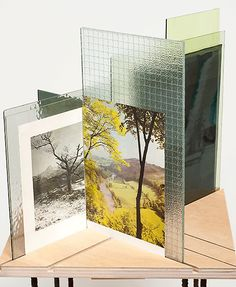 "Abigail Reynolds ~ ""Begin Afresh"" glass, book pages, plywood, steel stand. Photography Sketchbook, Fine Art Photography, Digital Photography, Creative Landscape, Landscape Design, Photo Sculpture, Exhibition Display, Exhibition Space, Collage Art"