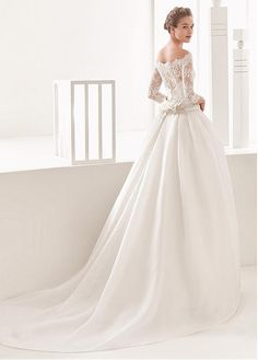 Glamorous Tulle & Organza Satin Off-the-shoulder Neckline Ball Gown Wedding Dress With Beaded Lace Appliques & Belt