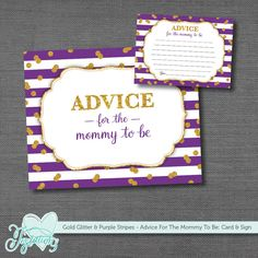 INSTANT DOWNLOAD - Gold Glitter and Purple Stripes - Advice For The Mommy Card & Sign - Baby Shower Activity by Joytations on Etsy. Print at home or at a local print shop! Visit my Etsy shop for details.