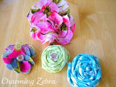 Fabric Flower Rosette Tutorial - i am going to make a bunch up for several projects