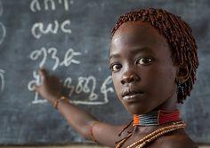 Hamer Tribe Girl In A School, Turmi, Omo Valley, Ethiopia - Eric Lafforgue
