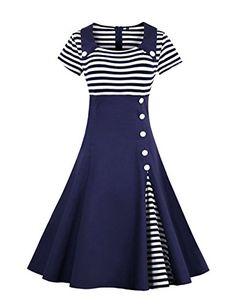 VKStar® Retro Herbst Abendkleid Cocktailkleid mit Streifen Vintage 50er  Rockabilly Swing Audrey Hepburn Kleid c45b4bef2d