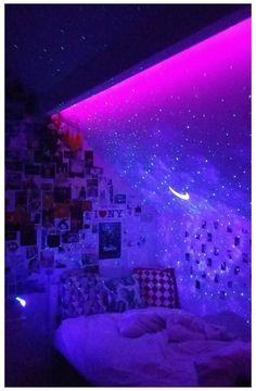 Neon Bedroom, Room Design Bedroom, Room Ideas Bedroom, Bedroom Inspo, Neon Room Decor, Galaxy Bedroom Ideas, Girls Bedroom, Bedroom Small, Bedroom Designs
