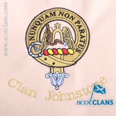 Clan Johnstone Custom Embroidery @ScotClans. Free worldwide shipping available