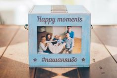 Blue wooden photo box with 6 photo albums and front photo frame by Cocochnik on…