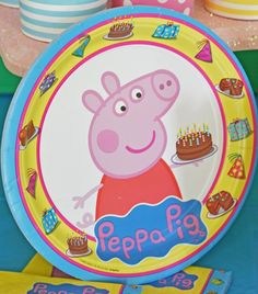 Adorable Peppa Pig plate featuring chocolate cake to go along with your little one\u0027s sweet and  sc 1 st  Pinterest & Peppa Pig Plastic Tablecover | Plastic table covers Plastic tables ...