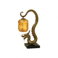 Maitland-Smith Sherwood Finished Cast Brass Dragon Table Lamp, Tiger Penshell Shade, Waxstone Base