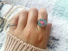 Rose ring, petit point ring, embroidered ring, flower jewelry, floral pattern, stainless steel ring, vintage needlepoint, floral embroidery by SlivkAtelier on Etsy Crochet Rings, Hand Crochet, Flower Jewelry, Stainless Steel Rings, Ring Ring, Embroidery Techniques, Bohemian Jewelry, Floral Embroidery, Needlepoint