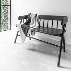 Painted Teak Bench in Black