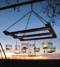 hanging wine rack and jars...indoors and out...great