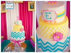 LOVE this CHEVRON PRINT CAKE! Such a cute party with a ton of cute ideas!