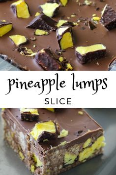 This Pineapple Lumps slice combines pineapple lumps with a delicious chocolate condensed milk slice, and the end result is so good it's impossible to stop at just one piece.