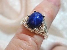10x8 Star Sapphire Ring (Lab) Filigree 925 Sterling Silver Size 7 1/4, 3ct.