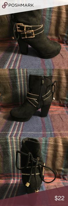 """🛍Black Platform Booties🛍 Smoking hot Booties 🔥❤️🙌🏻 1"""" platform, chunky heels, gold strappy buckle details, multiple sizes available, closeout item!! Forever Shoes Ankle Boots & Booties"""
