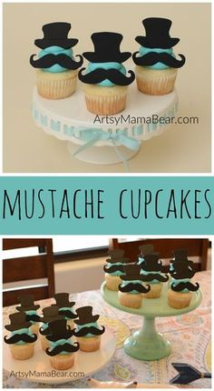 Mustache cupcakes - little man baby shower, little man birthday party
