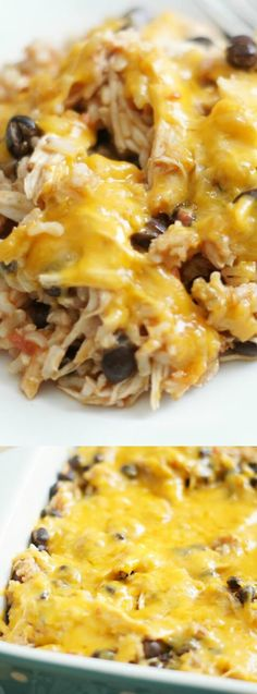 This Cheesy Chicken Enchilada Rice Bake from 5 Boys Baker is an EASY meal that is perfect for a busy weeknight. Pick up your favorite rotisserie chicken (we love to pick one up at Costco!) and pair it with a few simple ingredients — and bake it until it's Mexican Food Recipes, Dinner Recipes, Dinner Ideas, Mexican Dishes, Costco Recipes, Weeknight Meals, Quick Meals, Cooking Recipes, Healthy Recipes
