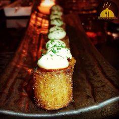 Patatas Bravas at Arola @ JW Marriot ! Dairy, Pudding, Restaurant, Cheese, Desserts, Food, Tailgate Desserts, Deserts, Custard Pudding