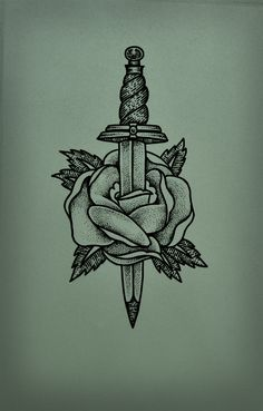 Flower dagger tattoo by guilherme hass, via behance tattoos and Rose Tattoos, Flower Tattoos, New Tattoos, Body Art Tattoos, Tattoos For Guys, Sleeve Tattoos, Butterfly Tattoos, Tatoos, Kunst Tattoos